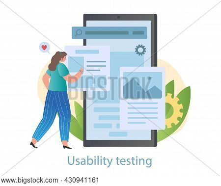 Usability Testing Concept. Female Programmer Checks Convenience Of Application For Users. Software,