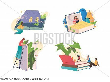 Set Of Mystical Stories In Books. Male And Female Characters Read Interesting Stories With Mysteriou