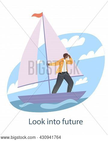 Tourist Looks Into Distance. Man On Sailboat Sails Forward And Looking For Right Path Of Development