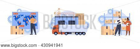 Storage, Transportation And Delivery Of Orders. Employees Of Logistics Company Engaged In Distributi