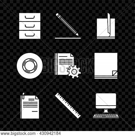 Set Drawer With Documents, Pencil Eraser And Line, File, Paper Clip, Ruler, Computer Monitor Keyboar