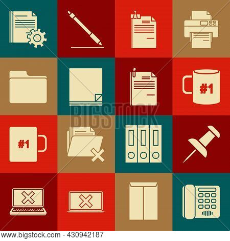 Set Telephone, Push Pin, Coffee Cup Flat, File Document And Binder Clip, Document Folder, Settings W
