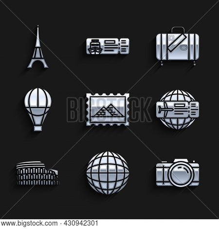 Set Postal Stamp And Egypt Pyramids, Earth Globe, Photo Camera, Airline Ticket, Coliseum Rome, Italy