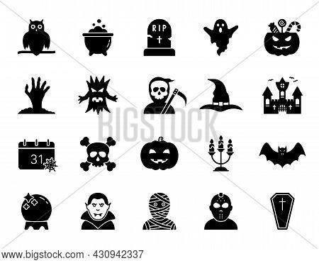 Halloween Set Silhouette Icon. Spooky Horror Glyph Pictogram Halloween Concept. Pumpkin, Ghost, Bat,