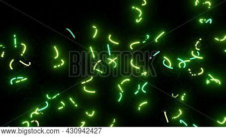 3d Abstract Background With Neon Light, Green Flashes Of Light Bulbs Of Unusual Shapes. Curved Lines