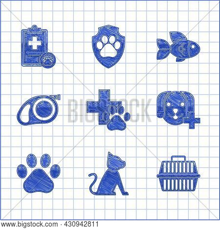 Set Veterinary Clinic Symbol, Cat, Pet Carry Case, Paw Print, Retractable Cord Leash With Carabiner,