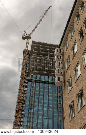 Construction Site Of The New Skyscraper The Spin, Frankfurt Am Main, Germany