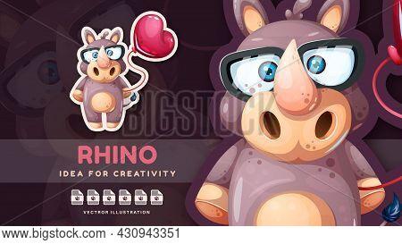 Funny Rhino With Air Balloon - Cute Sticker. Vector Eps 10