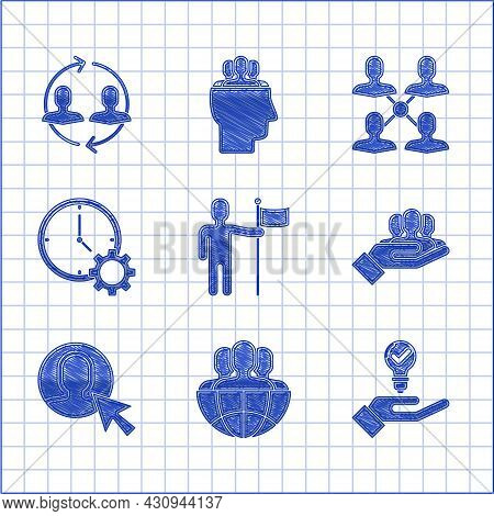 Set Man Holding Flag, Globe And People, Light Bulb Hand, Project Team Base, User Of Man Business Sui
