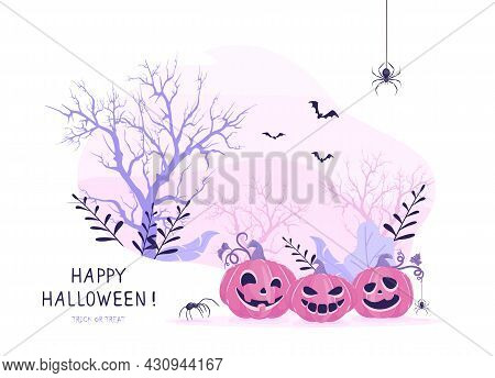 Smiling Pumpkins On Pink Halloween Background. Card With Jack O' Lanterns, Scary Trees, Bats And Spi