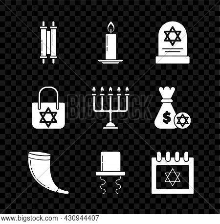 Set Torah Scroll, Tombstone With Star Of David, Traditional Ram Horn, Shofar, Orthodox Jewish Hat Si