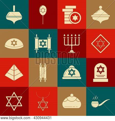 Set Smoking Pipe With Smoke, Tombstone Star Of David, Star David, Jewish Coin, Torah Scroll, Kippah,