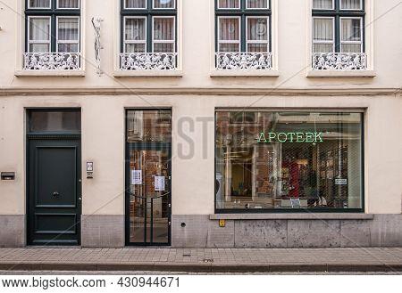 Brugge, Flanders, Belgium - August 3, 2021: Facade Of Pharmacy Latruwe Christine In Braambergstraat