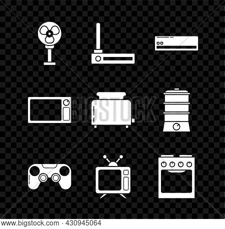 Set Electric Fan, Router And Wi-fi Signal, Air Conditioner, Gamepad, Television, Oven, Microwave Ove