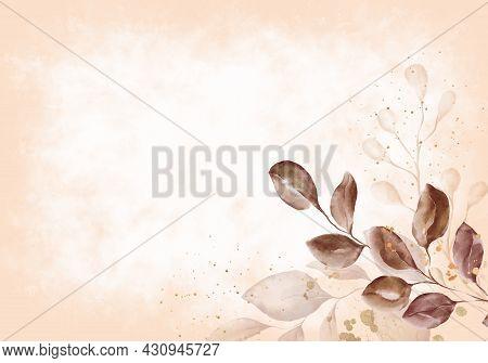 Pale Autumn Leaves - Botanical Design Banner. Floral Pastel Watercolor Border Frame.