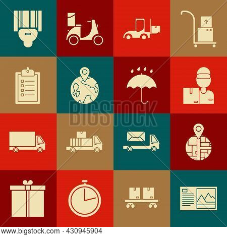 Set Postcard, , Delivery Man With Cardboard Boxes, Forklift Truck, Worldwide, Verification Of Delive