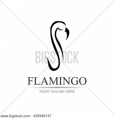 Vector Illustration Of A Flamingo. Flamingo Logo. Flamingo Illustration Idea For Logo, Symbol, Emble