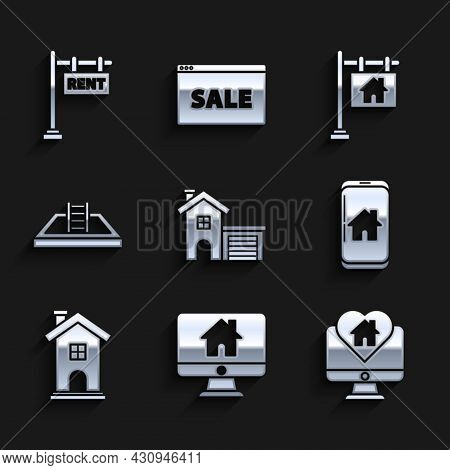 Set House, Computer Monitor With Smart Home, Monitor House In Heart Shape, Mobile Phone, Home Symbol