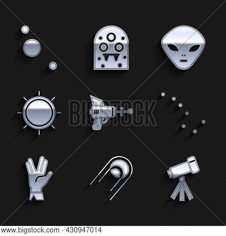 Set Ray Gun, Satellite, Telescope, Great Bear Constellation, Vulcan Salute, Sun, Alien And Solar Sys