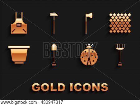 Set Shovel, Garden Fence Wooden, Rake, Ladybug, Flower Pot, Wooden Axe, Kitchen Apron And Hammer Ico