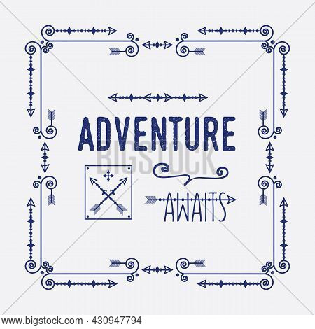Navy Blue Swirl Art Deco Square Border Frame Pattern Greeting Card With Words Adventure Awaits And D