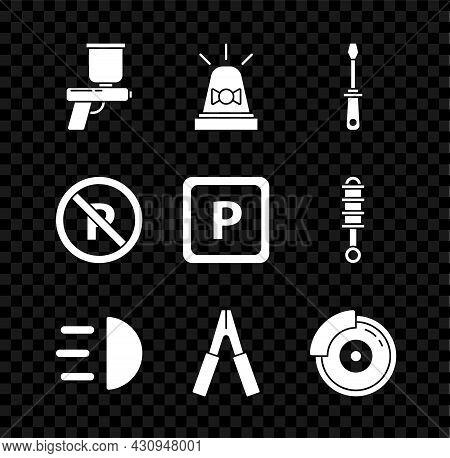 Set Paint Spray Gun, Flasher Siren, Screwdriver, High Beam, Car Battery Jumper Power Cable, Brake Di