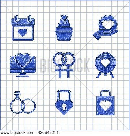 Set Female Gender Symbol, Castle In The Shape Of Heart, Shopping Bag With, Heart Center Darts Target
