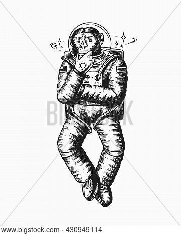 Monkey Astronaut. Pensive Thoughtful Pose. Chimpanzee Spaceman Cosmonaut Character. Fashionable Anim