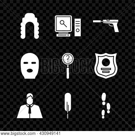 Set Judge Wig, Search On Computer Screen, Pistol Or Gun With Silencer, Lawyer, Attorney, Jurist, Fea