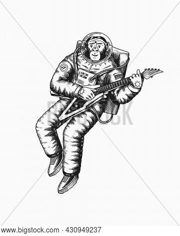 Monkey Astronaut Plays The Electric Guitar. Chimpanzee Spaceman Cosmonaut Character. Fashionable Ani