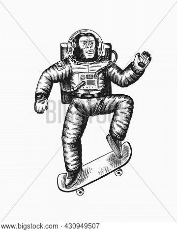Monkey Astronaut Rides A Skateboard. Chimpanzee Soars On The Board. Spaceman Cosmonaut Character. Fa
