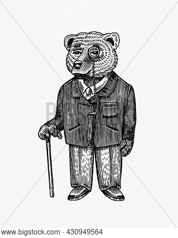 Bear With Monocle And Walking Stick In A Jacket. Fashion Character. Victorian Gentleman. Vintage Ret