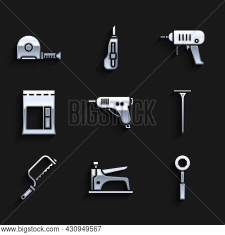 Set Electric Hot Glue Gun, Construction Stapler, Wrench Spanner, Metallic Nail, Hacksaw, Cement Bag,