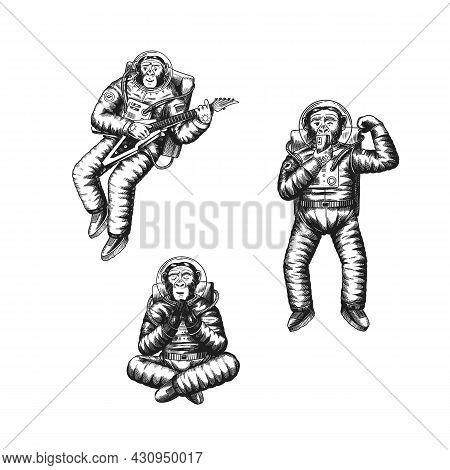 Monkey Astronaut Monkey Takes A Selfie, Meditates With A Guitar. Chimpanzee Spaceman Cosmonaut Chara