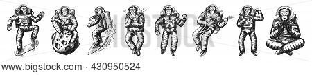 Monkey Astronaut With Whale, Guitar, Skateboard And Moon. Chimpanzee Spaceman Cosmonaut Characters S