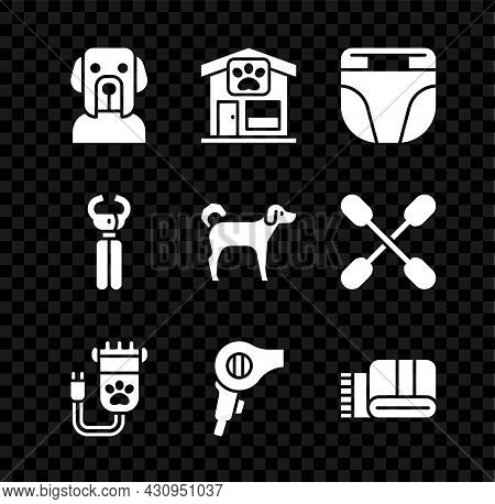 Set Dog, Pet Grooming, Diaper For Dog, Hair Clipper Pet, Dryer, Towel Stack, Nail Clippers And Icon.