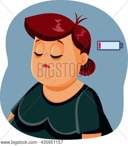 Sad Exhausted Overweight Woman Vector Illustration Character