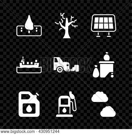 Set Deforestation, Withered Tree, Solar Energy Panel, Canister Gasoline, Petrol, Cloud, Oil Tanker S
