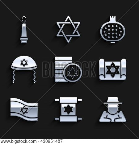 Set Jewish Coin, Torah Scroll, Orthodox Jewish Hat, Flag Of Israel, Kippah, Pomegranate And Burning
