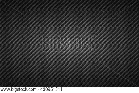 Carbon Texture. Fiber Background. Dark Realistic Backdrop. Industrial Cells With Shadow. Modern Comp