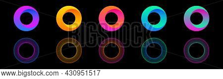 Gradient Circles Collection. Round 3d Shapes. Color Futuristic Rings Set. Bright Neon Elements. Abst