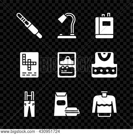 Set Audio Jack, Table Lamp, Book, Pants With Suspenders, Burger, Sweater, Crossword And Card Game Ic