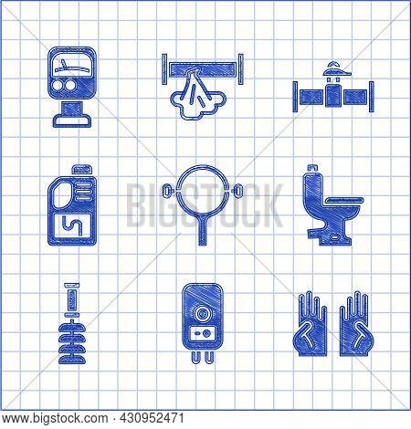 Set Filter Wrench, Electric Boiler, Rubber Gloves, Toilet Bowl, Brush, Drain Cleaner Bottle, Industr