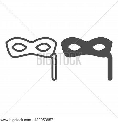 Incognito, Anonymous Festival Mask Line And Solid Icon, Masquerade Concept, Venetian Masquerade Vect