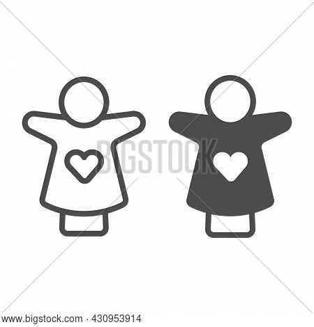 Puppet Doll With Heart On The Hand Line And Solid Icon, Theater Concept, Puppet Theatre Vector Sign