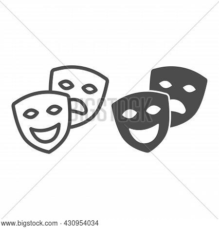 Comedy And Tragedy Masks, Theatrical Masks Line And Solid Icon, Theater Concept, Happy Sad Face Vect