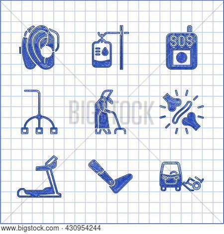 Set Grandmother, Prosthesis Leg, Disabled Car, Joint Pain, Knee Pain, Treadmill Machine, Walking Sti