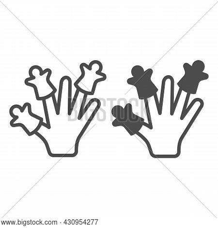 Hand Wearing Finger Puppets Line And Solid Icon, Theater Concept, Puppet Theatre Vector Sign On Whit