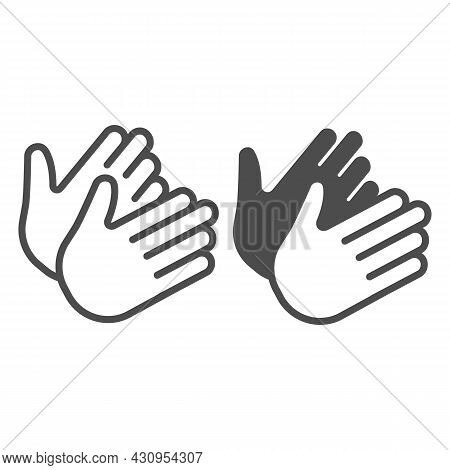 Two Clapping Hands, Applause, Bravo Line And Solid Icon, Theater Concept, Clap, Applaud Vector Sign