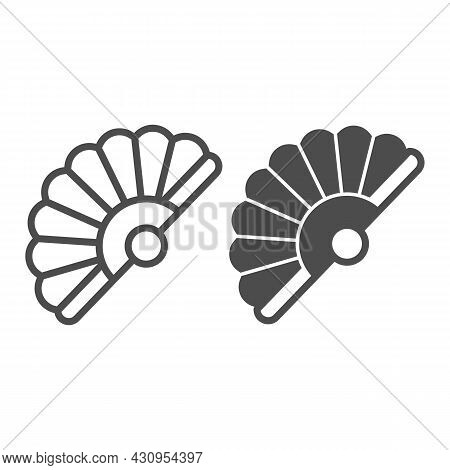 Classic Japanese Folding Fan Line And Solid Icon, Theater Concept, Hand Fan Vector Sign On White Bac
